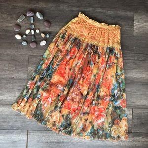 Dresses & Skirts - Boho Chic Artistic Floral Flowing Skirt
